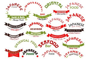 Japanese seafood restaurant vector ribbons set