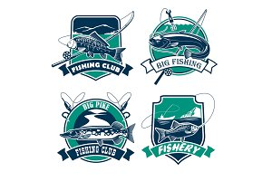 Fishing club vector icons and emblems set