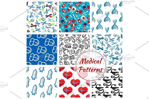 Medications Medical Vector Seamless Patterns Set