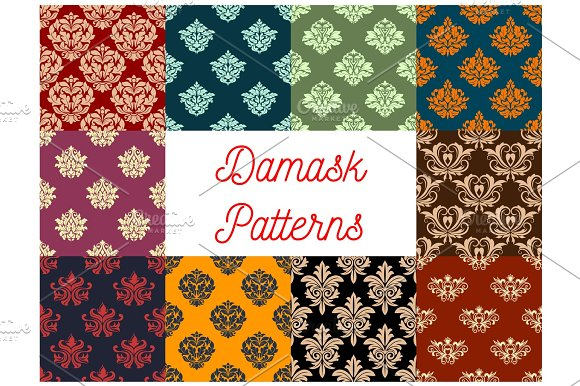 Damask Floral Vector Pattern Set Flowery Ornament