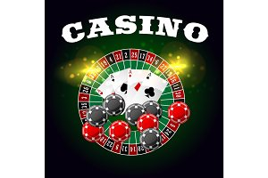 Casino vector poster of roulette and poker cards