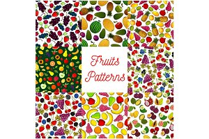 Fruit and berry seamless pattern for food design