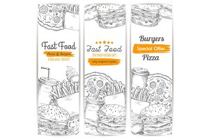 Fast food restaurant menu sketch banner set