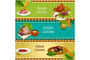 Polish cuisine meat and vegetable dish banner set