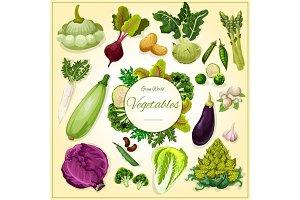 Vegetable, bean and mushroom cartoon poster