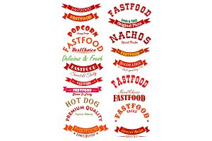 Fast food ribbon banner set for badge design