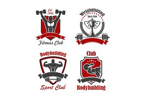 Bodybuilding and weightlifting sport club sign set
