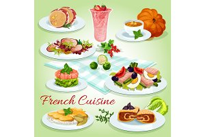 French cuisine icon for restaurant menu design