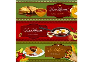 Mexican cuisine restaurant banner set design