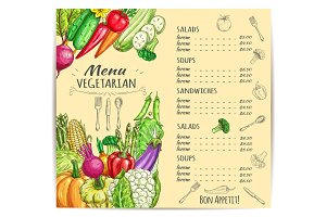 Vegetarian menu template design with vegetables