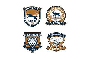 Hunting club and safari trip heraldic badge set