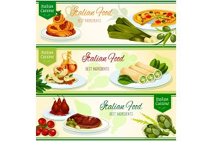 Italian cuisine dinner with fruit dessert banner