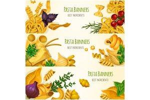 Italian pasta, macaroni and spaghetti banner set