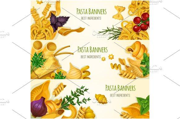 Italian Pasta Macaroni And Spaghetti Banner Set
