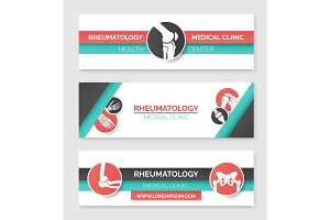 Medical clinic, health center banner template set