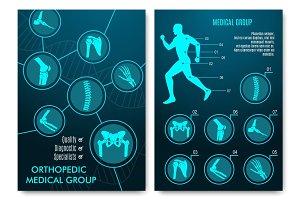 Medical infographic with orthopedic anatomy charts