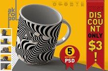 5 Mugs Mock Up