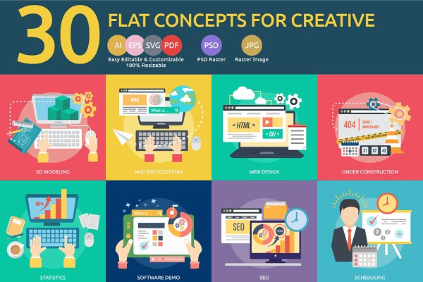 Flat Concepts for Creative Process