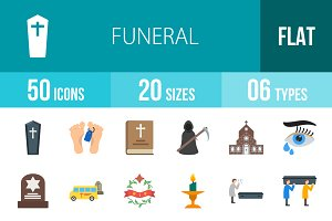 50 Funeral Flat Multicolor Icons