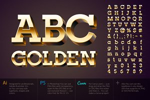 Vector typefaces Golden 3D alphabet