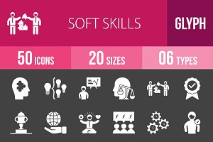 50 Soft Skills Glyph Inverted Icons