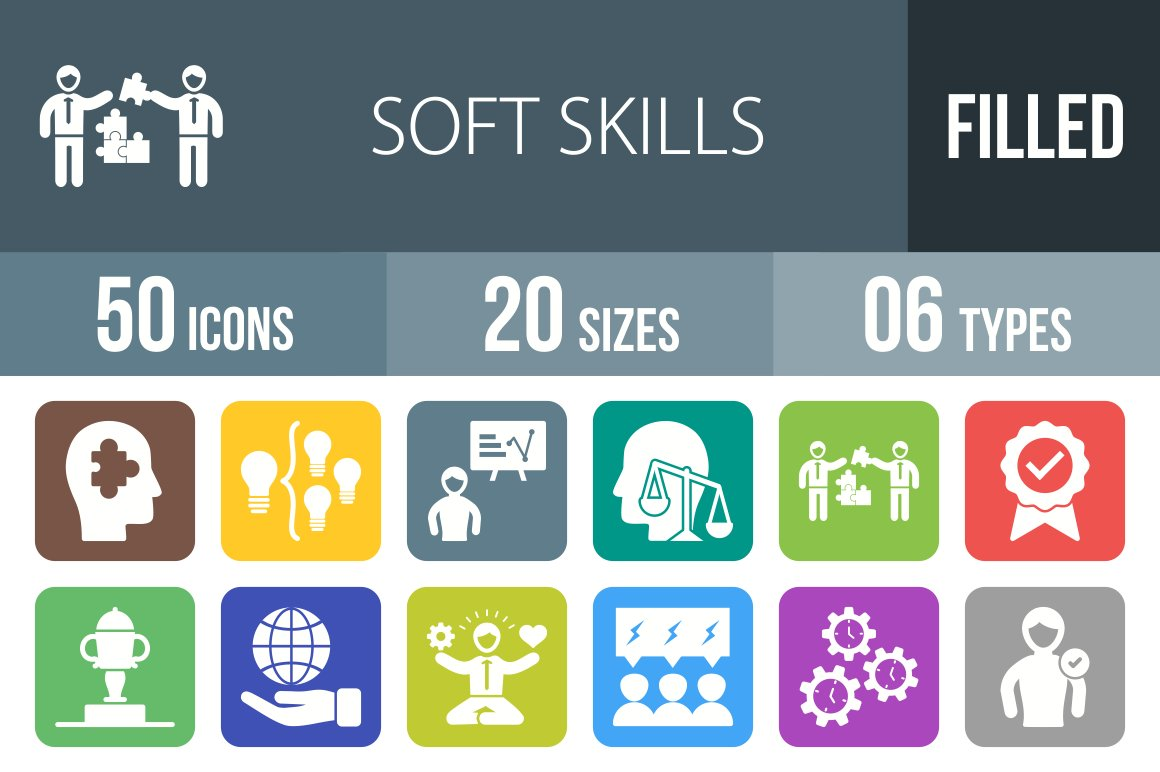 soft skill flat round corner icon icons on creative market