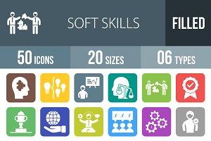 50 Soft Skill Flat Round Corner Icon