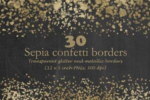 Sepia-toned confetti borders