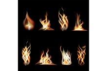 Realistic Burning Fire Flames Set
