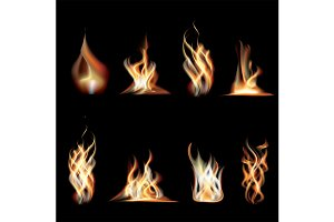 Realistic Burning Fire Flames Set