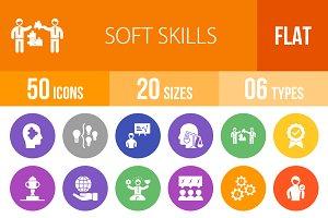 50 Soft Skills Flat Round Icons