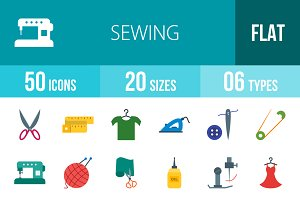 50 Sewing Flat Multicolor Icons