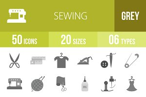 50 Sewing Greyscale Icons
