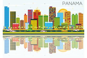 Panama Skyline with Color Buildings