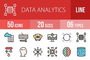 50 Data Analytics Filled Line Icons