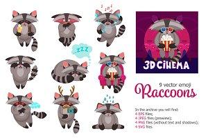 Racoon Emoji Set