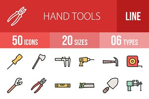 50 Hand Tools Filled Line Icons