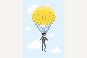 Man parachutist with paratruper