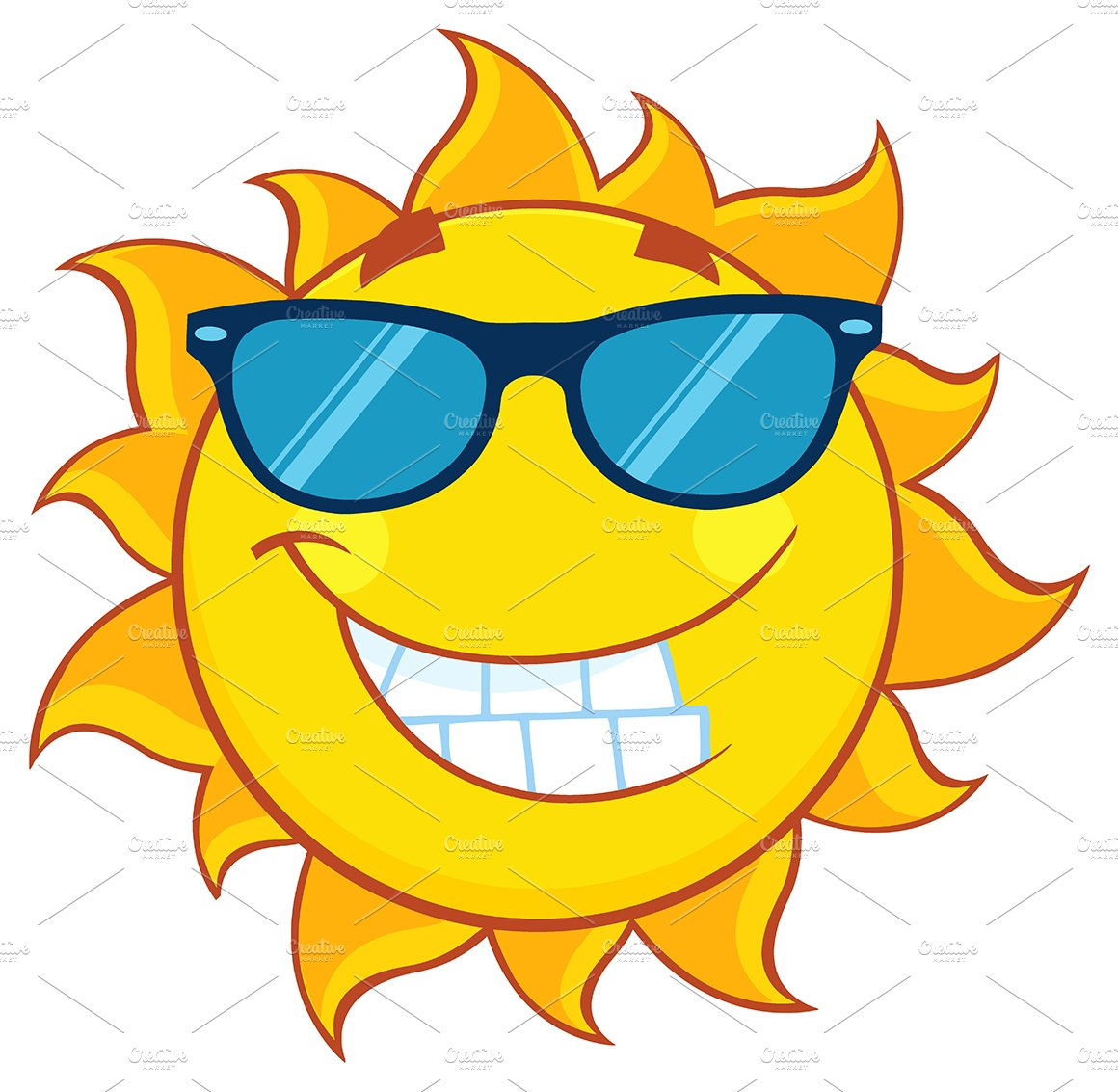 Smiling sun with sunglasses - Smiling Summer Sun