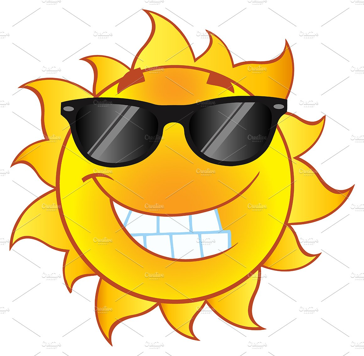 Smiling Summer Sun Character ~ Illustrations ~ Creative Market