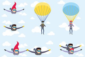Set of parachutist characters