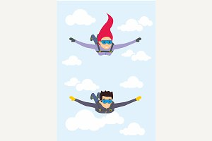 Skydiver man and woman flying