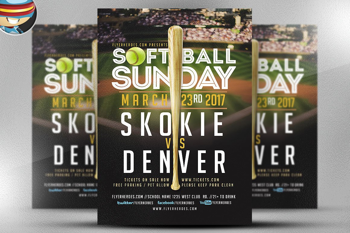 Softball sunday flyer template flyer templates for Softball brochure templates