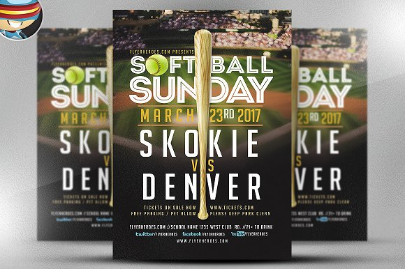 Softball sunday flyer template flyer templates on creative market for Softball flyers templates