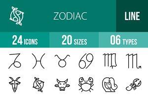 24 Zodiac Line Icons