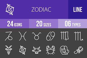 24 Zodiac Line Inverted Icons