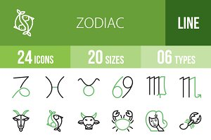 24 Zodiac Line Green & Black Icons