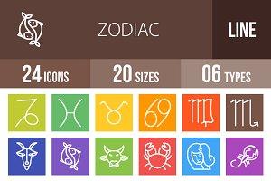24 Zodiac Line Multicolor Icons