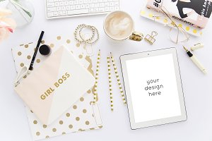 Blush & Gold Styled iPad Mockup