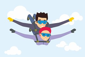 Skydiver man and woman